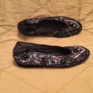 Shoes - Peacock coloured sequinned flat slipper shoes